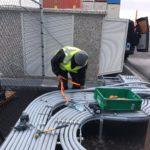 Elektrische installatie bij een container terminal.